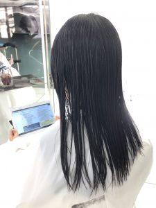 縮毛矯正1剤塗布水洗後